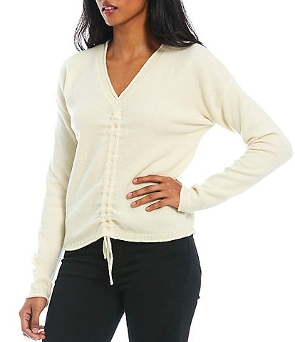 Say What Long Sleeve V-Neck Cinched Front Knit Top