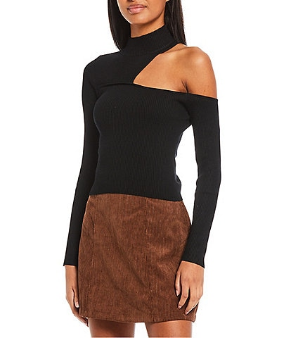 Say What Mock Neck Cut Out Shoulder Long Sleeve Ribbed Knit Top