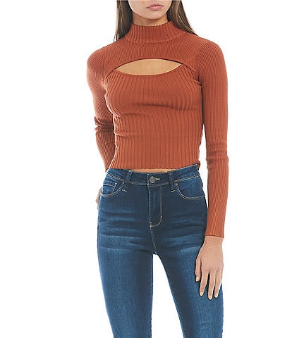 Say What Mock Neck Ribbed Cut Out Long Sleeve Top