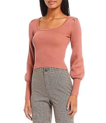 Say What Scoop Neck Balloon Sleeve Ribbed Knit Top