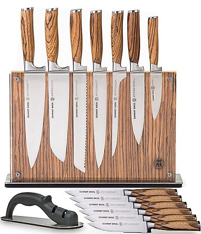 Schmidt Brothers Cutlery Zebra Wood 15-Piece Knife Block Set