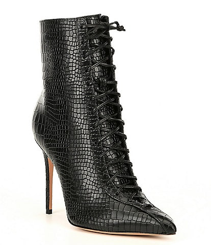 Schutz Anaiya Leather Croco Embossed Stiletto Booties