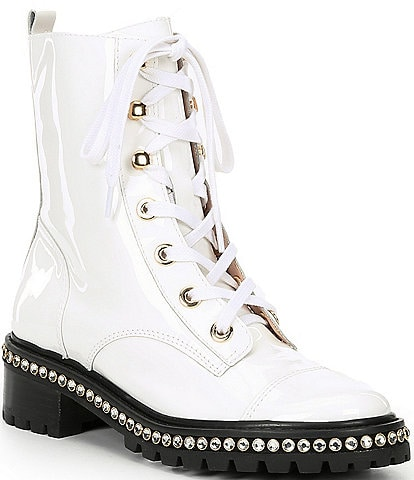 Schutz Andorra Patent Leather Embedded Crystal Detail Block Heel Combat Boots