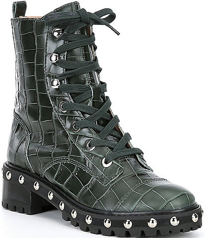 Schutz Andrea Croc Embossed Leather Studded Welt Lace Up Combat Booties