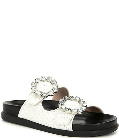 Schutz Ariel Leather Crystal Buckle Detail Sandals