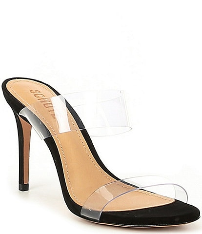 Schutz Ariella Nubuck Transparent Dress Sandals