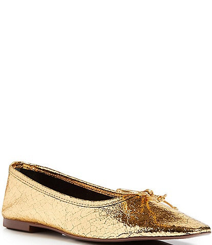 Schutz Arissa Metallic Leather Ballerina Flats