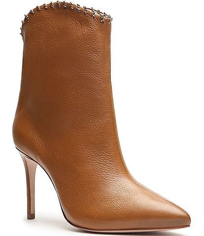 Schutz Aydin Leather Chain-Link Accent Pointed Toe Booties