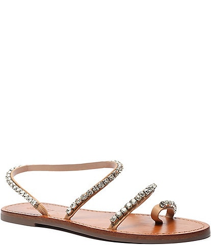 Schutz Azalea Rhinestone Leather Toe Ring Flat Sandals