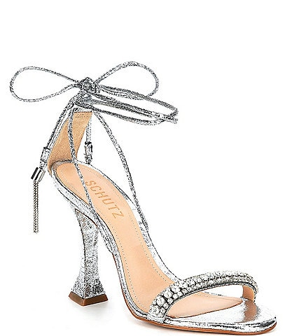 Schutz Bellin Metallic Leather Ankle Tie Tassel Dress Sandals