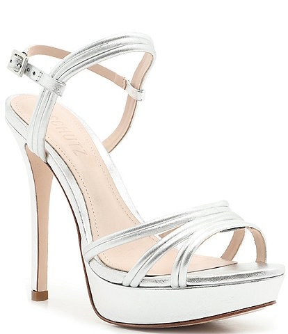 Schutz Bogga Metallic Leather Platform Dress Sandals
