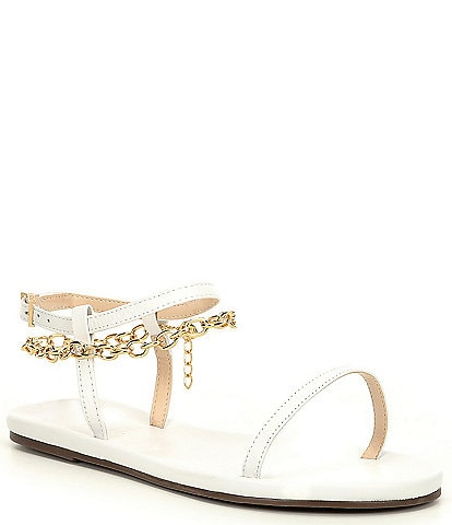 Schutz Celyna Leather Chain Detail Sandals