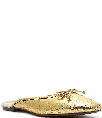 Schutz Evelin Metallic Crackle Leather Faux Shearling Bow Mules