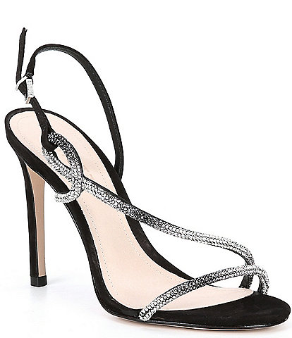 Schutz Gaela Ombre Crystal Embellished Dress Sandals