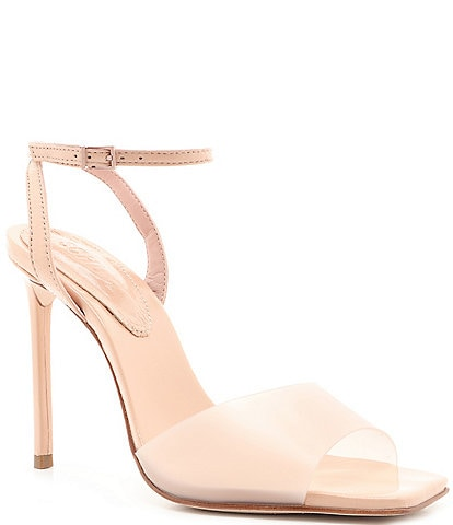 Schutz Jamili Clear Square Toe Stiletto Dress Sandals
