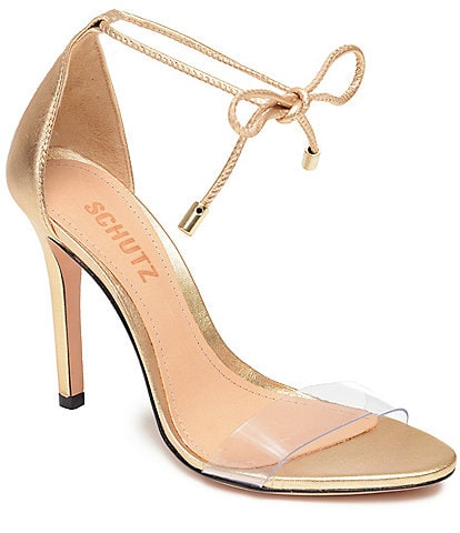 Schutz Josseana Clear Ankle Tie Dress Sandals