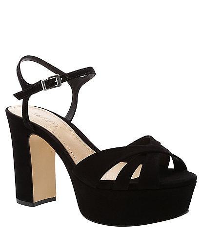 Schutz Keefa Suede Platform Block Heel Sandals