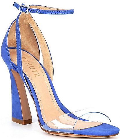 Schutz Kristy Suede Clear Vinyl Ankle Strap Dress Sandals