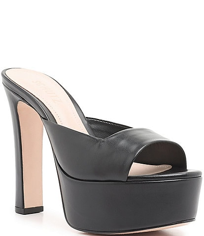 Schutz Marcielly Leather Platform Dress Mules