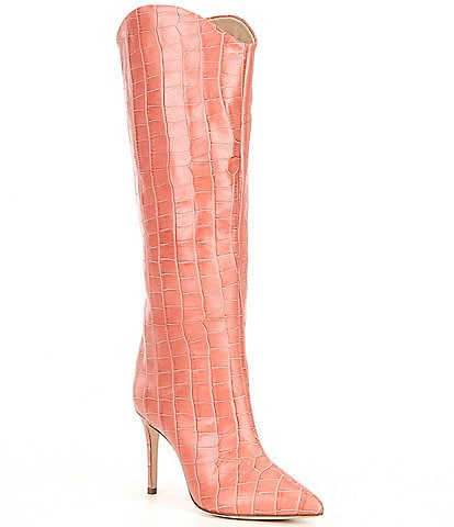 Schutz Maryana Croc Embossed Leather Tall Dress Boots