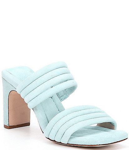 Schutz Naiara Suede Leather Square Toe Dress Slides