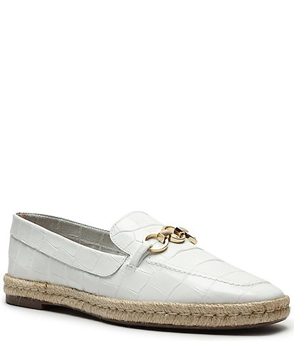 Schutz Patty Croco Embossed Leather Chain Detail Espadrille Loafers