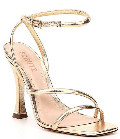 Schutz Polaina Square Toe Metallic Leather Dress Sandals