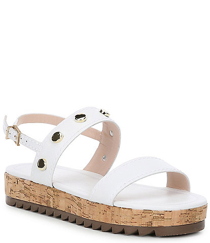 Schutz Rafah Leather Studded Detail Flatform Sandals