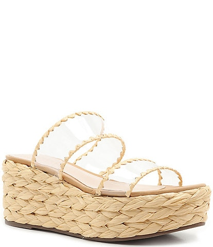 Schutz Royce Clear Espadrille Wedge Slide Sandals