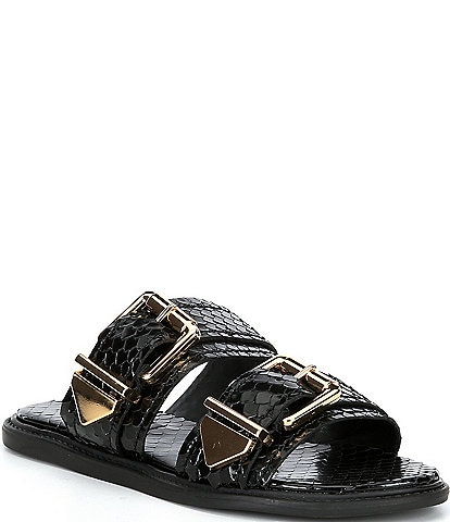 Schutz Shina Reptile Print Leather Buckled Slide Sandals