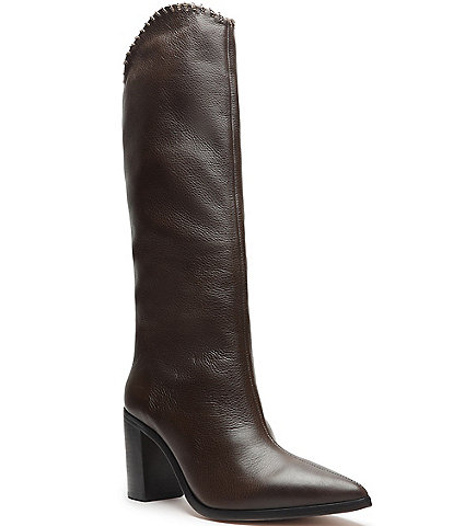Schutz Valy Leather Chain-Link Accent Tall Block Heel Boots