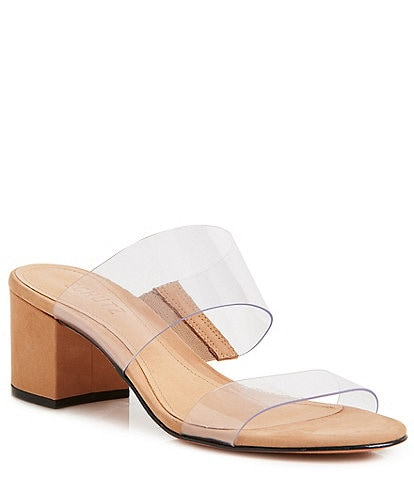 Schutz Victorie Clear Block Heel Dress Slides