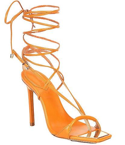 Schutz Vikki Leather Ankle Tie Square Toe Dress Sandals