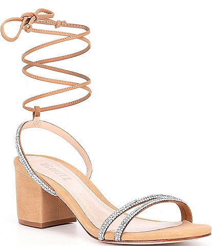 Schutz Wilda Crystal Ankle Tie Block Heel Dress Sandals