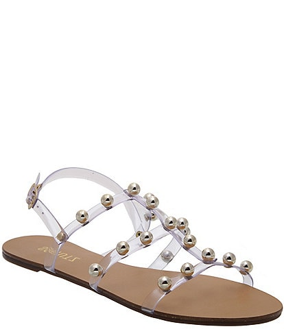 Schutz Yarin Studded Clear Gladiator Sandals