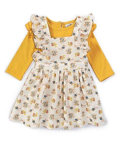 Searington Road Baby Girls 3-24 Months Long-Sleeve Rib-Knit Bodysuit & Floral Jumper Dress
