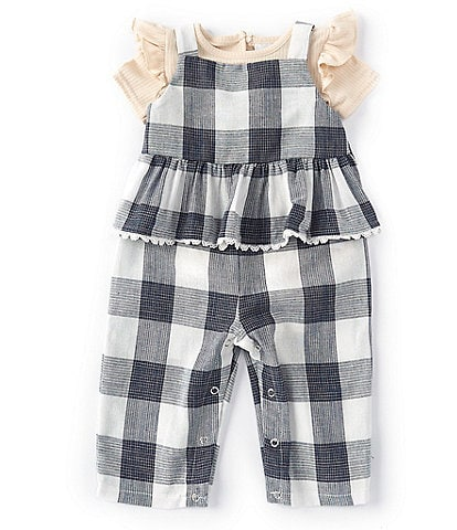 Searington Road Baby Girls 3-24 Months Short-Sleeve Rib-Knit Bodysuit & Checked Woven Jumpsuit