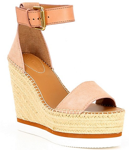 See By Chloe Glyn Leather Espadrille Wedges