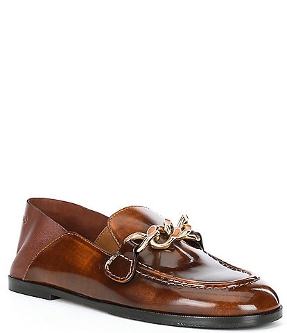See by Chloe Mahe Leather Chain Detail Loafers