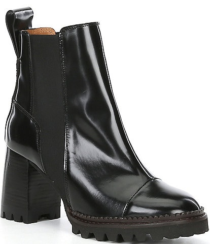 See By Chloe Mallory Leather Block Heel Lug Sole Chelsea Booties