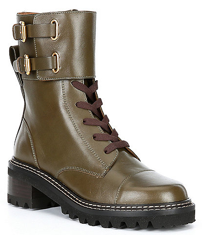 See By Chloe Mallory Leather Lug Sole Military Combat Boots