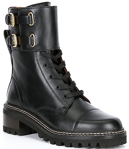 See by Chloe Mallory Military Leather Lug Sole Combat Booties