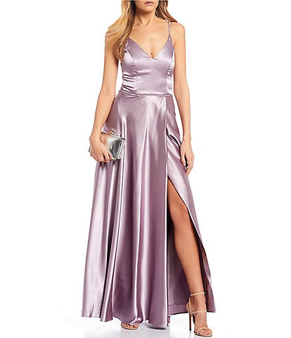 Sequin Hearts Double Spaghetti Strap Side Slit Satin Long Dress