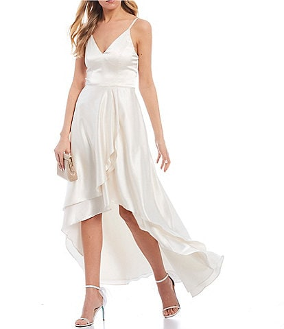 Sequin Hearts Double Spaghetti Strap V-Neck Ruffled Satin Long High-Low Dress