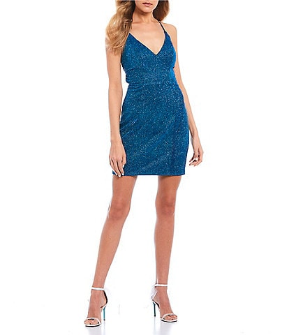 Sequin Hearts Iridescent Shimmer Lace-Up-Back Bodycon Dress