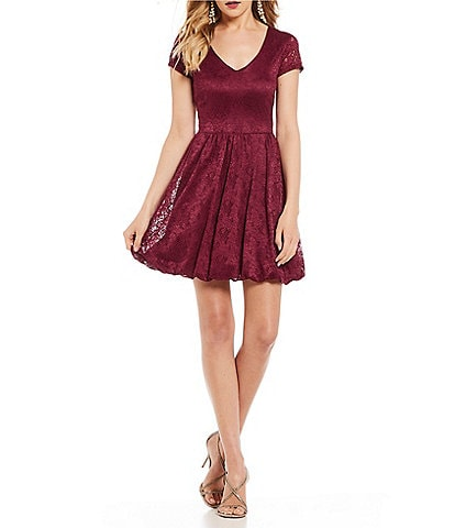 Sequin Hearts Lace Bubble Hem Dress