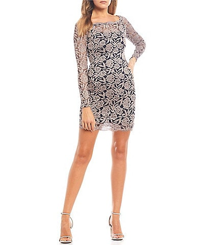 Sequin Hearts Long Sleeve Floral Lace Sheath Dress