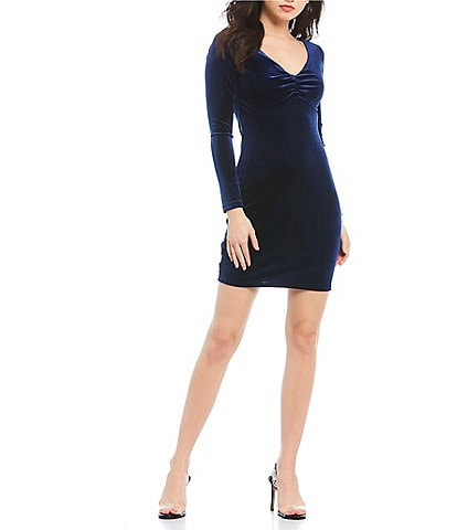 Sequin Hearts Long Sleeve Open-Back Velvet Sheath Dress
