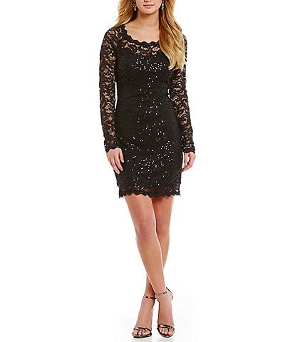 Sequin Hearts Illusion Long-Sleeve Scalloped Sequin Lace Sheath Dress