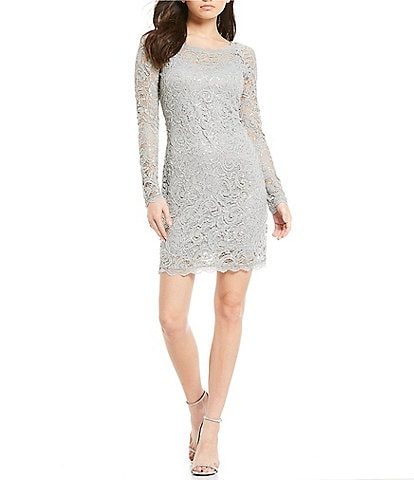 Sequin Hearts Long Sleeve Sequin Lace Sheath Dress